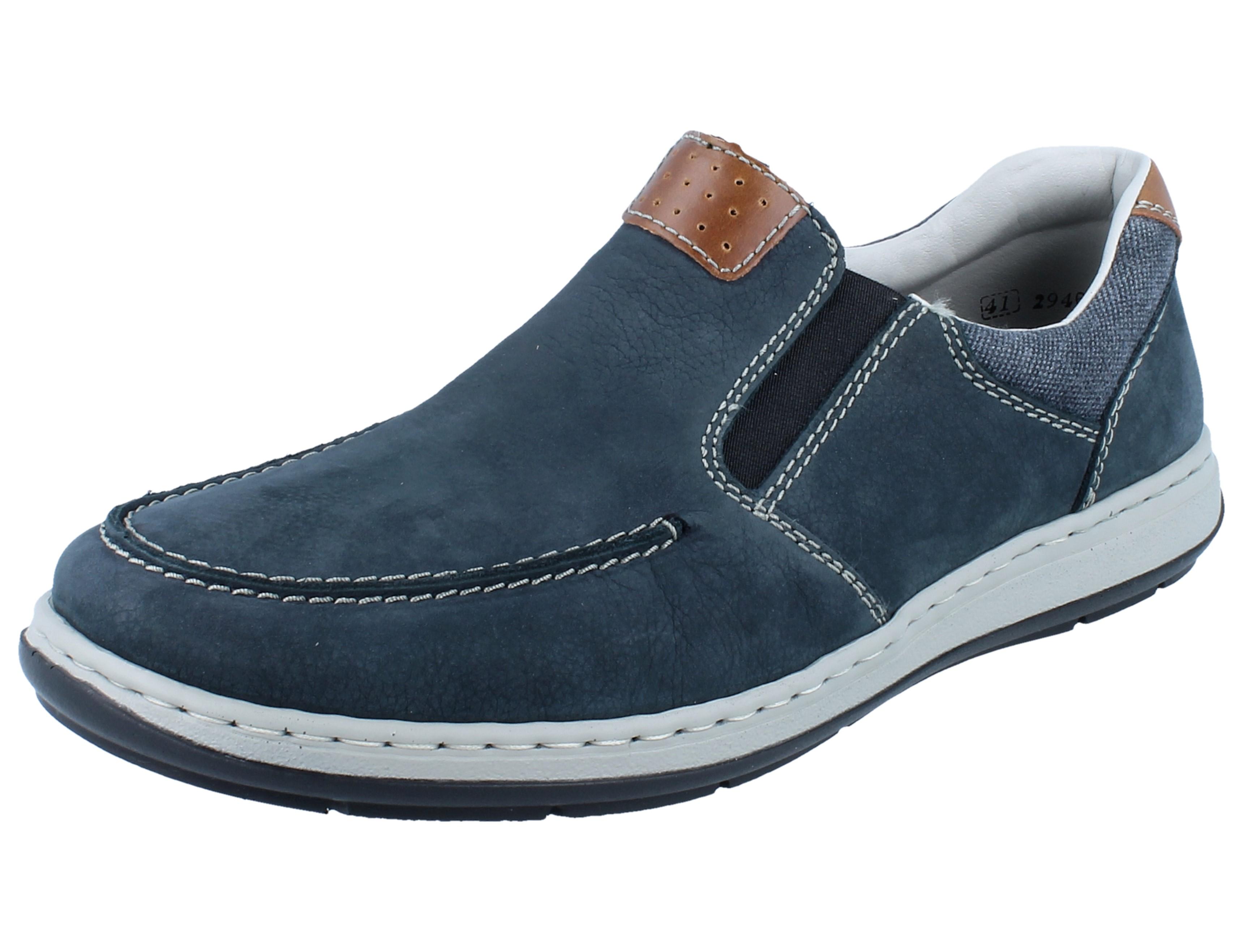 RIEKER 37020-14 Herren Schnürstiefel blau//Leder extra Weit