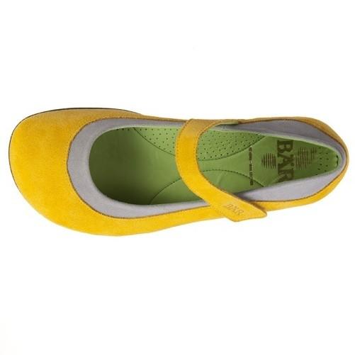 BÄR Schuhe Exquisit Vivianna gelb/grau Rindvelours/Mikrofaser
