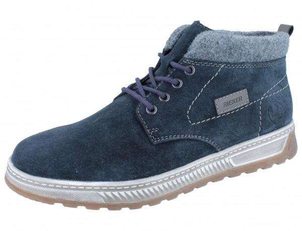 RIEKER 37020-14 Schnürstiefel blau/Leder extra Weit