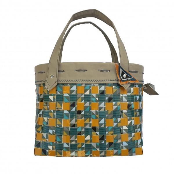 Tasche Upcycling mittel ca. 31 cm x 13 cm x 26 cm aus Wiederverwertung Tetrapak´s grau/gelb/blau