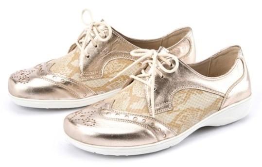 BÄR Schuhe Exquisit Pia gold/beige Lammnappaleder/Kalbveloursleder