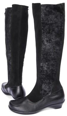 BÄR Schuhe Exquisit Almuth schwarz Rindvelours/gepudertes Rindvelours in Perlato-Optik/Kalbnappa